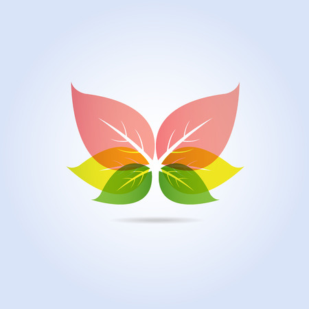 Illustration for Colorful Leaf Butterfly Shape Icon Symbol Vector - Royalty Free Image