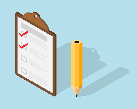 Photo pour Checklist paper on Clipboard and Pencil Isometric element Vector Illustration - image libre de droit