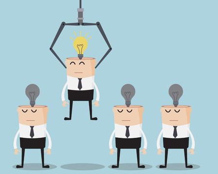 Illustration pour Choosing Businessman with Bulb Idea - image libre de droit