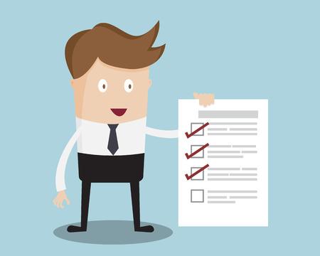 Illustration pour Businessman Show Check List Paper Cartoon Vector Illustration - image libre de droit