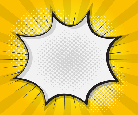 Ilustración de Comic Book Speech Bubble,Pop art Cartoon Yellow Background Vector Illustration - Imagen libre de derechos