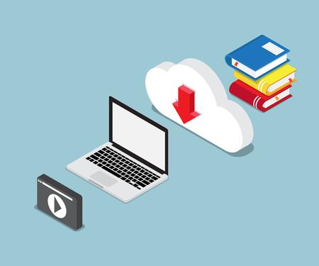 Illustration pour Online education concept with books and laptop illustration - image libre de droit