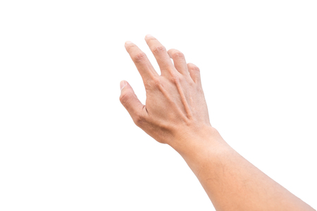 Photo pour Isolated hand reaching out for something on white background. - image libre de droit