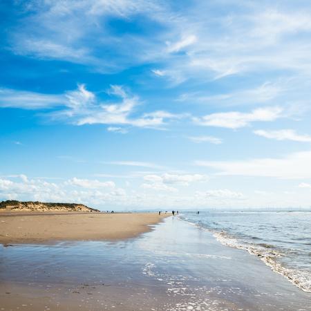 Foto de Sandy Formby Beach  near Liverpool on a sunny day. This is the North West Coast of England, United Kingdom - Imagen libre de derechos