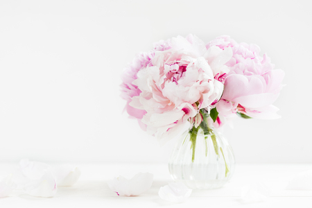 Photo for Fresh bunch of pink peonies on light background. Card Concept, copy space for text - Royalty Free Image