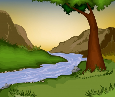 Nature background.River in the forest