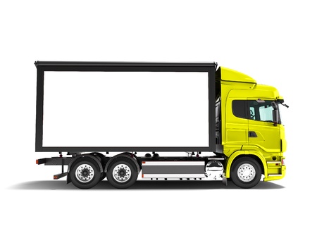 Photo for Modern yellow truck with white trailer for transportation of goods from the side 3d render on white background with shadow - Royalty Free Image