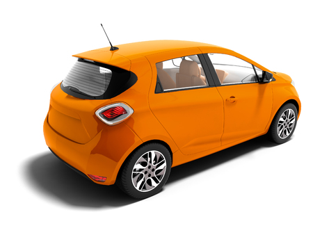 Photo pour Modern orange electric car for summer trips isolated 3d render on white background with shadow - image libre de droit