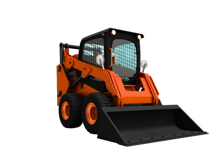 Photo pour Modern orange mini loader with bucket in front 3d render on white background no shadow - image libre de droit