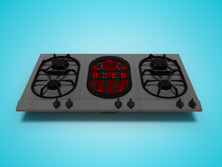 Photo for Gas plate built with electrospiral for frying 3d render on blue background with shadow - Royalty Free Image
