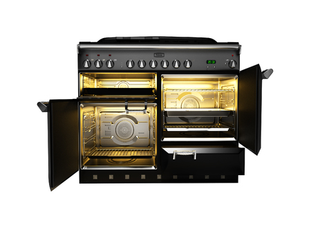 Photo for Gas stove included with open doors of electric oven front view 3d render on white background no shadow - Royalty Free Image