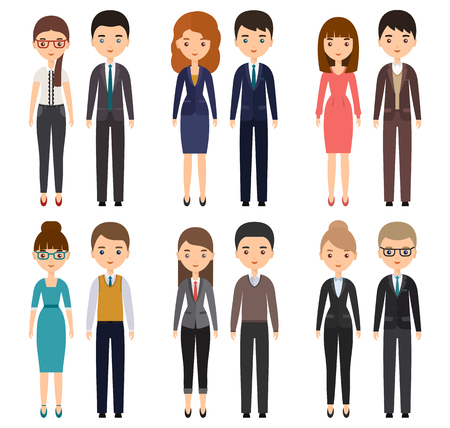 Illustrazione per Characters flat office workers. Vector business men and business women, employees. Cartoon people isolated on white background. - Immagini Royalty Free