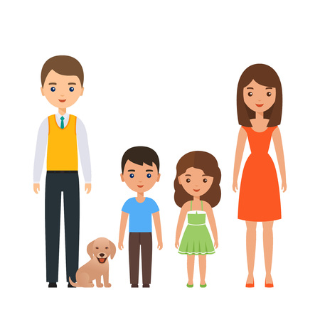 Illustrazione per Family standing together. Vector. Couple characters with children. Portrait parents with son, daughter, dog. Cartoon young adult people mother, father, kids in flat design isolated on white background - Immagini Royalty Free