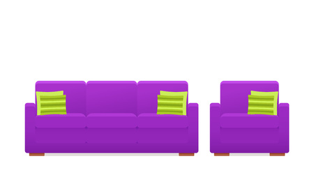 Ilustración de Sofa, couch, armchair icon. Vector. Furniture in flat design. Animated violet house equipment for living room isolated on white background. Cartoon set elements for lounge. - Imagen libre de derechos