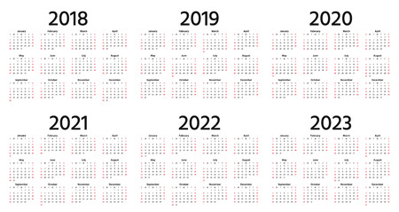 Illustration pour Calendar 2018, 2019, 2020, 2021, 2022, 2023 year. Vector. Week starts Sunday. Stationery 2019 vertical template in simple minimal design. Yearly calendar organizer for weeks. Portrait orientation. - image libre de droit