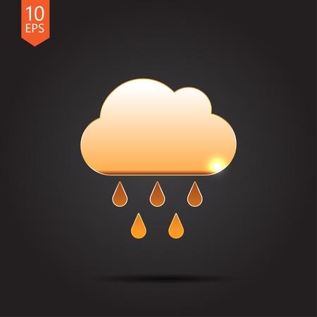 Vector flat gold cloud rain icon  isolated on dark. Eps10