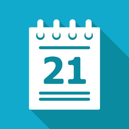 Illustration pour Vector flat calendar icon isolated on blue background. - image libre de droit