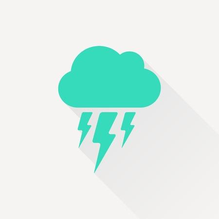 Vector gold cloud flash icon isolated on dark. Epsgreen0
