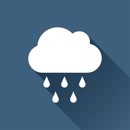 Vector white cloud rain icon on dark background