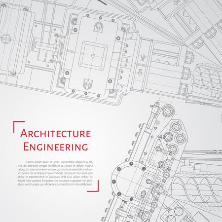 Foto de Vector technical blueprint of  mechanism. Engineer illustration. Set of corporate identity templates. Architecture Background - Imagen libre de derechos