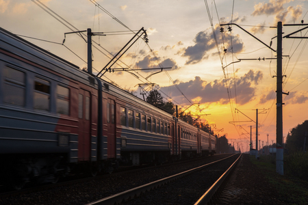 Foto per Train and sunset - Immagine Royalty Free