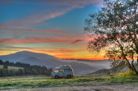 Photo for Camper van camping with alpine view in the Black forest region of Germany - Royalty Free Image