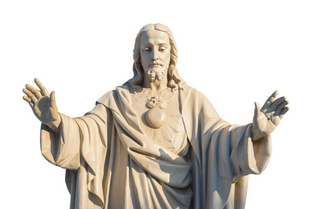 Foto de Jesus Christ Statue isolated over white background - Imagen libre de derechos