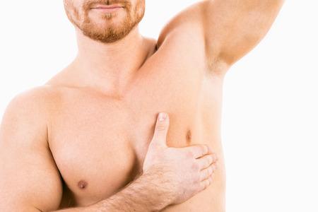 Photo pour Muscular male torso with focus on armpit - image libre de droit