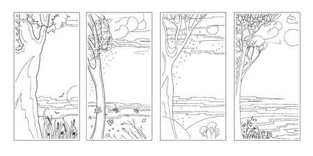 Illustration pour Set black-white flat vector natural backgrounds. Vector illustration. - image libre de droit