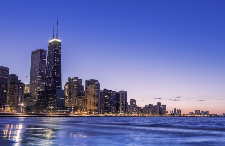 Chicago skyline by dusk