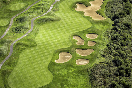 Aerial view of golf course mural