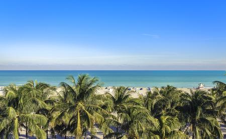 Foto de Public beach behind the palm trees in Miami Beach, Florida - Imagen libre de derechos