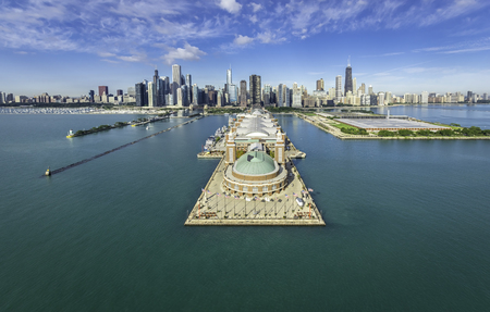 Photo for Chicago Skyline aerial view Navy Pier - Royalty Free Image