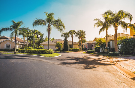 Photo for Typical gated community houses with palms, South Florida. Light effect applied - Royalty Free Image