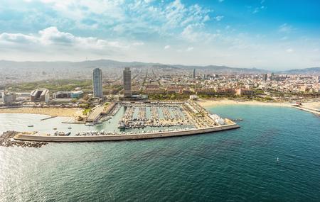 Foto de Barcelona skyline aerial view skyscrapers by the beach, Spain. Vintage colors - Imagen libre de derechos