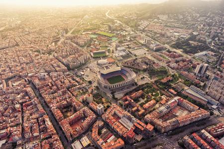 Photo pour Aerial view of Barcelona city stadium at sunset, Spain - image libre de droit