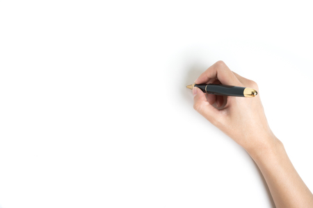 Foto de Hand Holding a pen on white background - Imagen libre de derechos