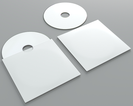 Photo for 3d render of a cd dvd compact disc mockup on grey background. Perspective view. - Royalty Free Image