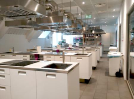 Foto de Blurry Kitchen Laboratory interior background Kitchen Seminary Room - Imagen libre de derechos