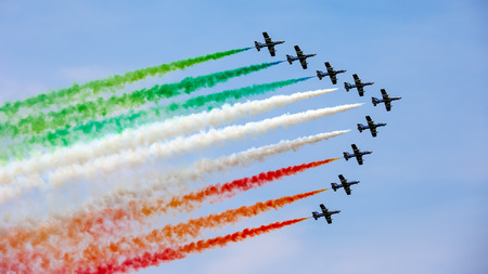 Photo for The Italian demonstration team Frecce Tricolori performes - Royalty Free Image