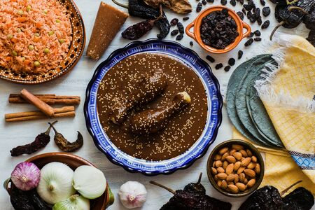 Photo for Mole Mexicano, Poblano mole ingredients, mexican spicy food traditional in Mexico - Royalty Free Image