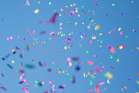 Photo for Many Colored Petals on a Sky Background - Royalty Free Image