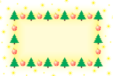 Photo pour frame with tree and christmas ornament surrounded by stars - image libre de droit
