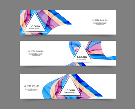 Illustration pour Set of web banner templates for your site or blog with abstract lines and waves - image libre de droit