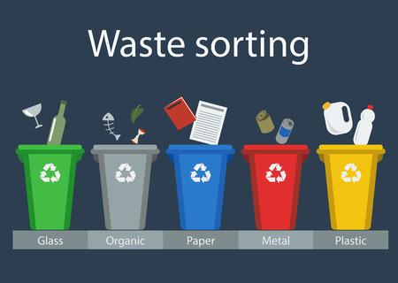 Ilustración de Waste sorting for recycling, vector - Imagen libre de derechos