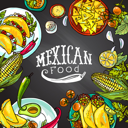 Illustration for mexican food - Royalty Free Image