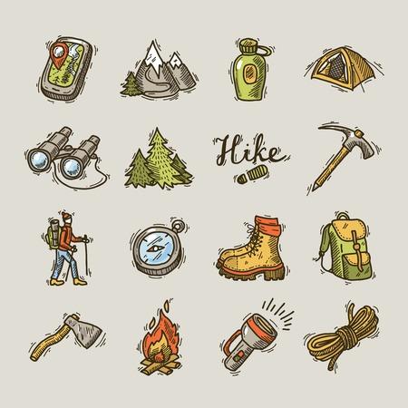 Illustration pour hike icons - image libre de droit