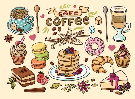 Ilustración de Beautiful hand drawn vector illustration coffee and sweets. - Imagen libre de derechos