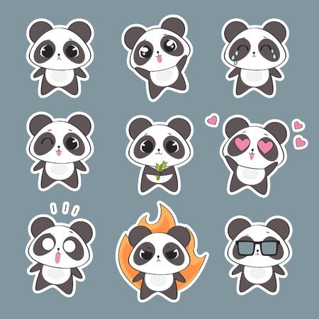 Illustration pour Set of cute panda character with emotions. Vector panda bear - image libre de droit
