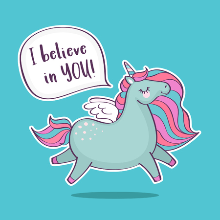 Illustration for Cute magical unicorn with inscription I believe in you. Inspirational and greeting card with unicorn and quote. Vector illustration. - Royalty Free Image